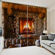 Curtains Decorative Door-Windows Living-Room for Middle-Cut Dropship Christmas-Fireplace