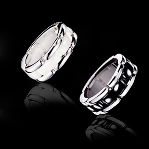 Image 3 - Luxury jewelry 2020 new ring men and women strap ceramic double row black and white couple stainless steel punk gift wholesale