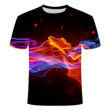 2021 new flame 3D printing men and women 3D printing T-shirt short sleeve top casual short sleeve size XXS-6XL top