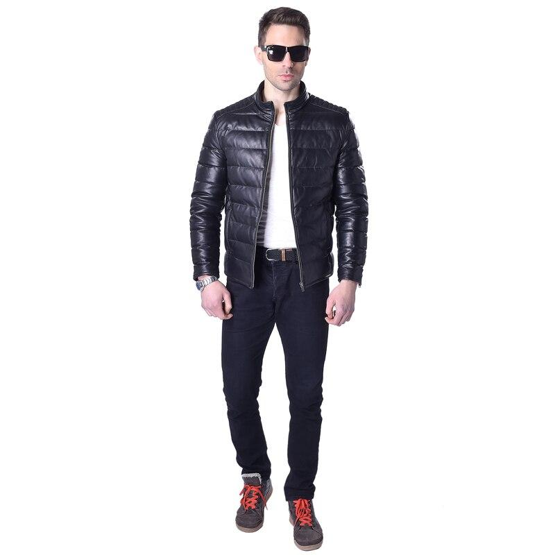 Factory Duck Down Jacket Genuine Sheepskin For Men Black Orange Short Men's Leather Coat Winter ZH062