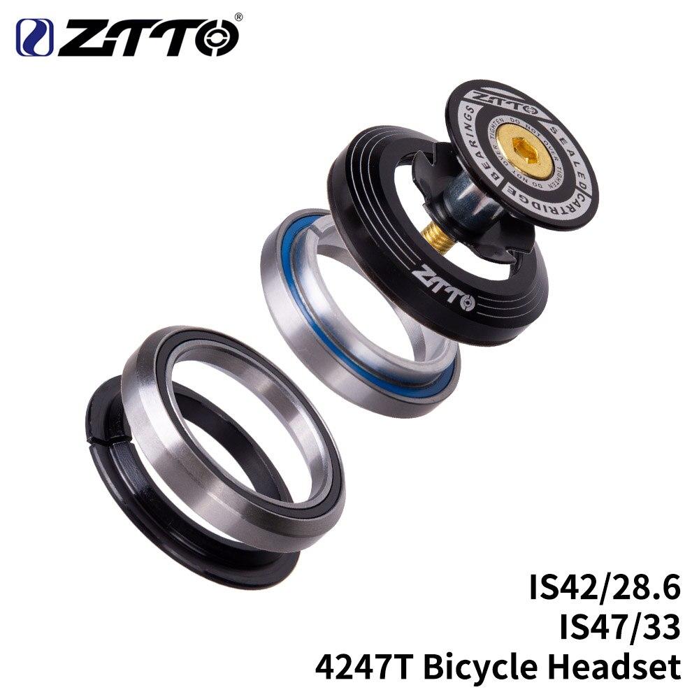 Велосипедные подшипники ZTTO 4247T, гарнитура 42 мм, 47 мм, 1 1/8-1 1/4 дюйма, 1,25 дюйма, 33 мм, коническая трубчатая вилка IS42, IS47, встроенные Угловые контак...