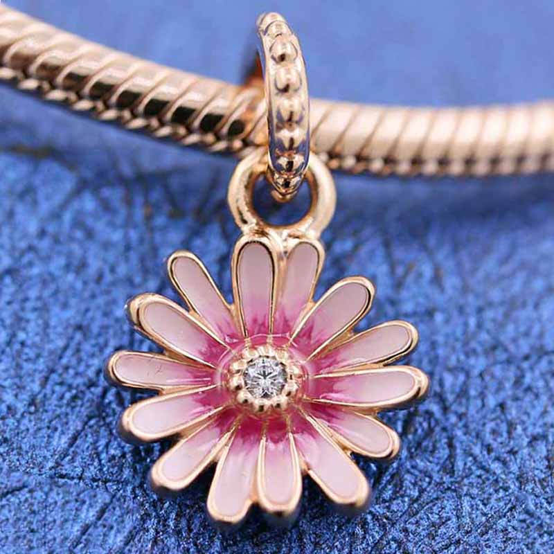 Original Pink Shaded Enamel Daisy Flower Pendant Beads Fit 925 Sterling Silver Bead Charm Pandora Bracelet Bangle Diy Jewelry(China)
