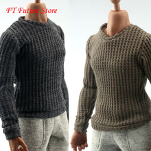 1/6 Scale Male Figure Accessory Sweater Long Sleeve T-shirt Elbow patch Accessory for 12 inches Man Action Figure Body elbow patch contrast trim t shirt