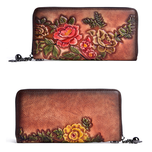Image 4 - 정품 가죽 빈티지 여성 지갑 양각 된 여성 지갑 레트로 여러 카드 홀더 일일 클러치 긴 표준 지갑