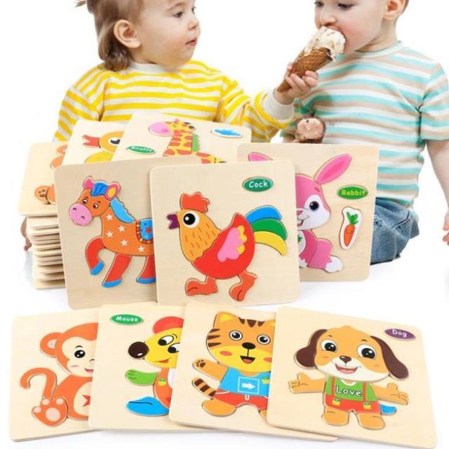 3D Puzzle Cartoon Animal Fruit Baby Toys Educational Wooden Puzzle 3D Puzzle Jigsaw For Children Intelligence Learning Jigsaw