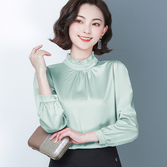 New Spring Long Sleeved Women's Shirts Satin Blouses Loose Office Work Wear Tops Ruffles Stand Collar Plus Size 4XL Green Shirts 1