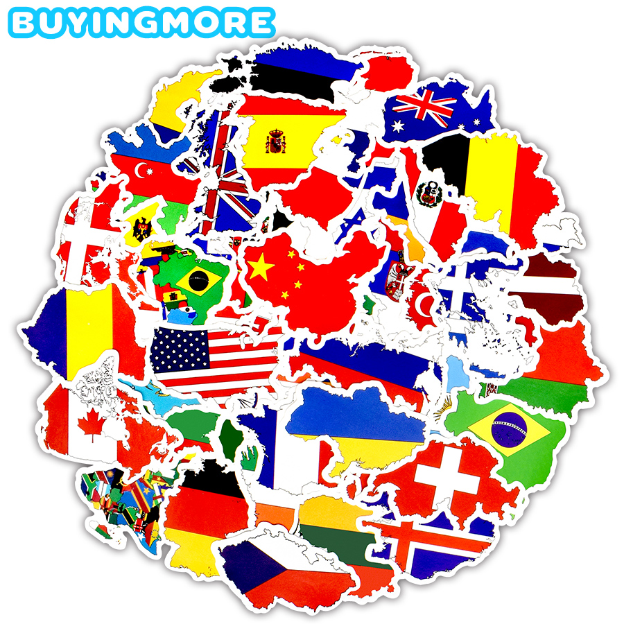 50 PCS National Flags Sticker Toy Travel Countries Map Waterproof Stickers to DIY Laptop Suitcase Motorcycle Skateboard Stickers(China)