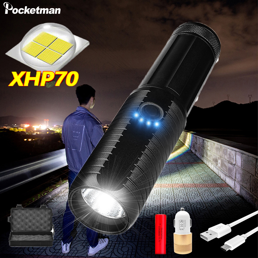 Most Brightest 4 Core XHP70 Led Flashlight Torch Usb Rechargeable Tactical Flashlights 18650 Or 26650 Hand Lamp T6 Lanterna