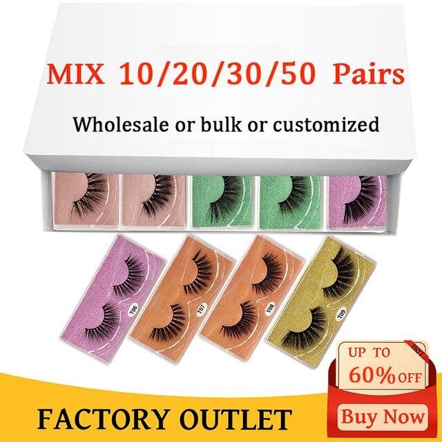 3D eyelashes Wholesale lashes 10/20/30/50pcs mink lashes Natural with Eyelash beauty Supplies makeup false eyelashes faux cils 1