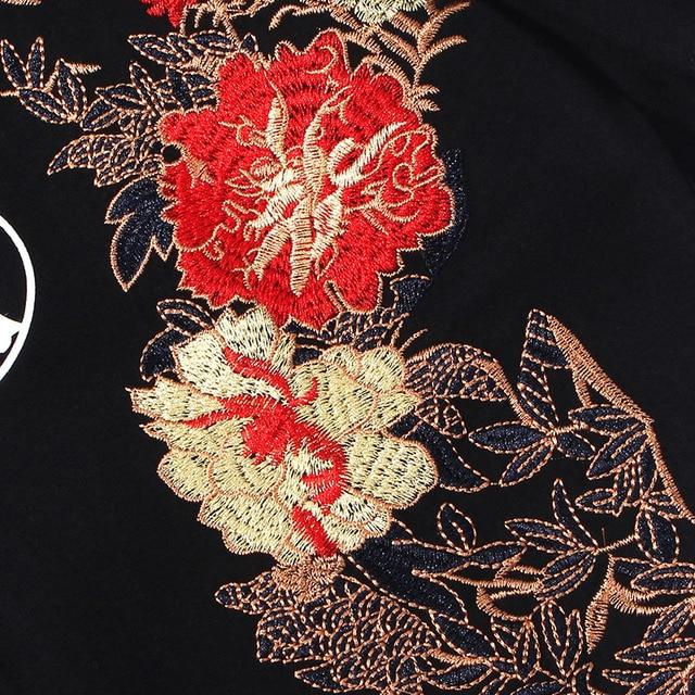 Camiseta de Hip Hop para hombres, 2020, ropa de calle, bordado Floral, luna llena, conejo, Harajuku, camiseta de verano de manga corta, Tops de algodón