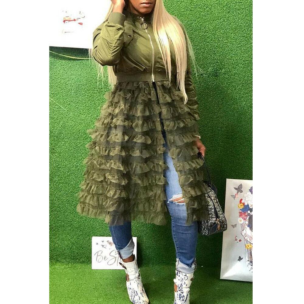 Женская куртка модная однотонная с длинным рукавом Женские куртки кружевные оборки сетчатый костюм с вышивкой элегантное пальто длинные к...