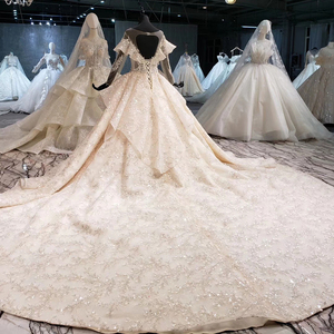 Image 2 - HTL1086 long sleeve wedding dress bohemian bead crystal shiny lace princess bridal dress wedding gown illusion платье свадебное