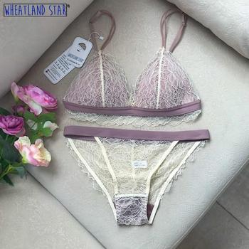 Lenceria Thin Lace Wire Free Bra Underwear Women Set Brassiere French Style Bralette Summer Intimate Women's Intimates - discount item  68% OFF Women's Intimates