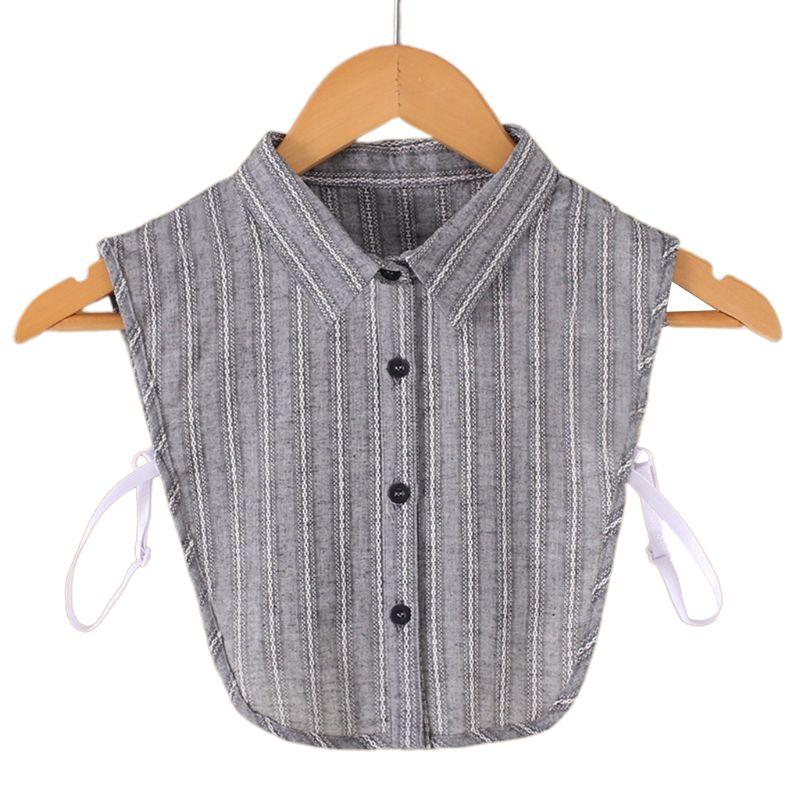 Gray Cotton Fake Collar Women Vertical Stripe Lace Pattern Detachable Half Shirt