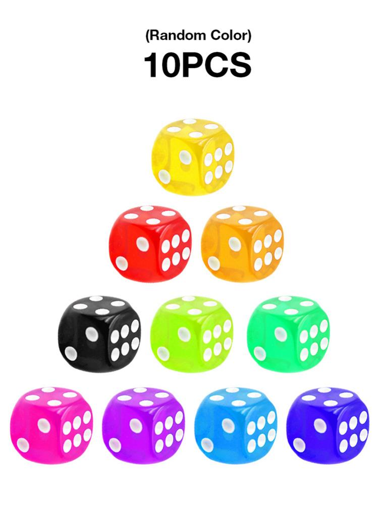 10PCS/Set Dice Set Transparent Dice Set 16mm Multi Color Six Sided Playing Games Dice Set For Club Table Board Games