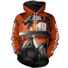 Moda unisex 3d impressão completa bela motosserra ferramenta moletom com capuz zip harajuku moda rua casual moletom