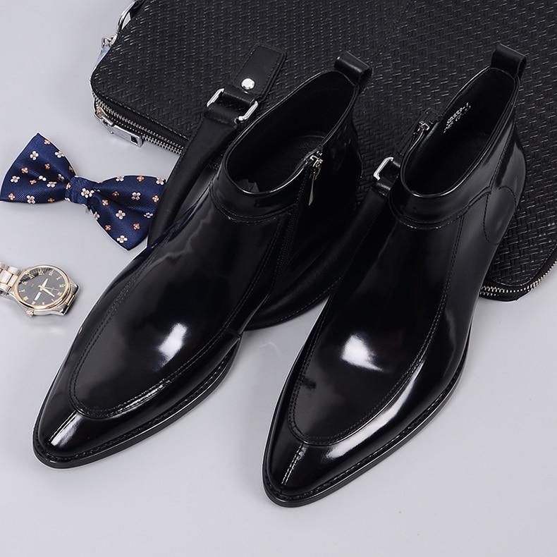 QYFCIOUFU 2019 mode hommes Chelsea bottes en cuir véritable Rome Style homme bottines à fermeture éclair homme robe chaussures marque chaussons - 4