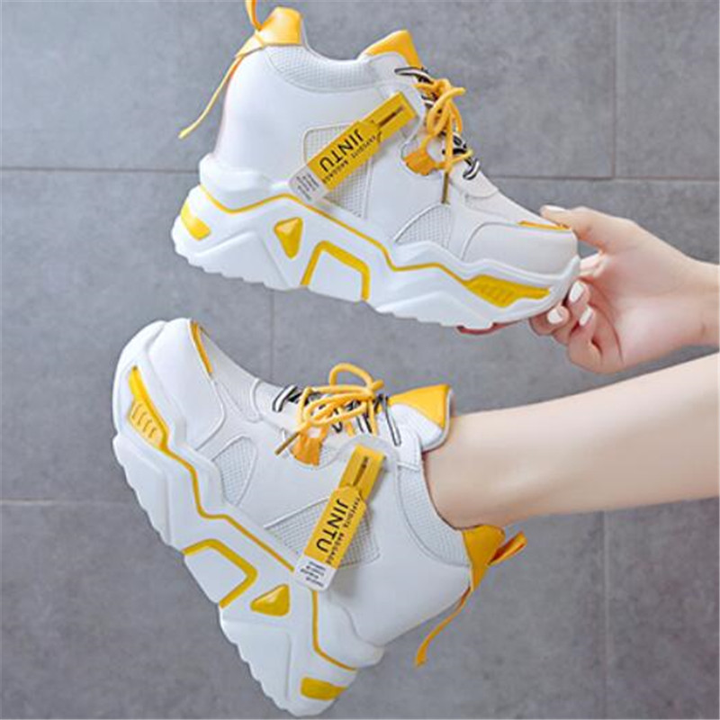 2020 Womens Sneakers Trainers Platform Wedges Chunky Sneakers Black Sneakers Women Casual Shoes Woman Baskets Chaussures Femme