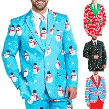 Men Christmas Suit Blazer Adult Jacket Coat Christmas Costumes Suit Funny Blazer Bachelor Party Suit Jacket Xmas M-XXL