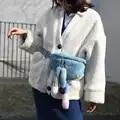 2019 Pele De Vison Real das Mulheres Fanny Pack Saco Da Cintura Fofo Mulheres De Peles Quentes Walking Montanhismo Banda Barriga de Pele De Vison caudas Zíper