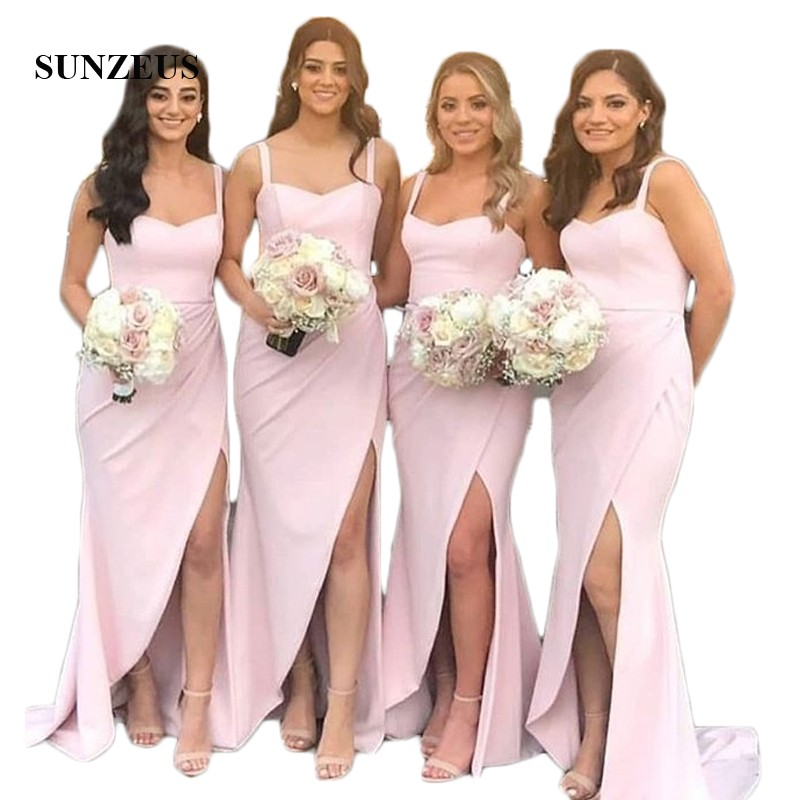 Pink Satin Simple   Bridesmaid     Dresses   Long Sheath Sweetheart Spaghetti Straps Maid of Honor   Dresses   Leg Slit Wedding Party Gowns