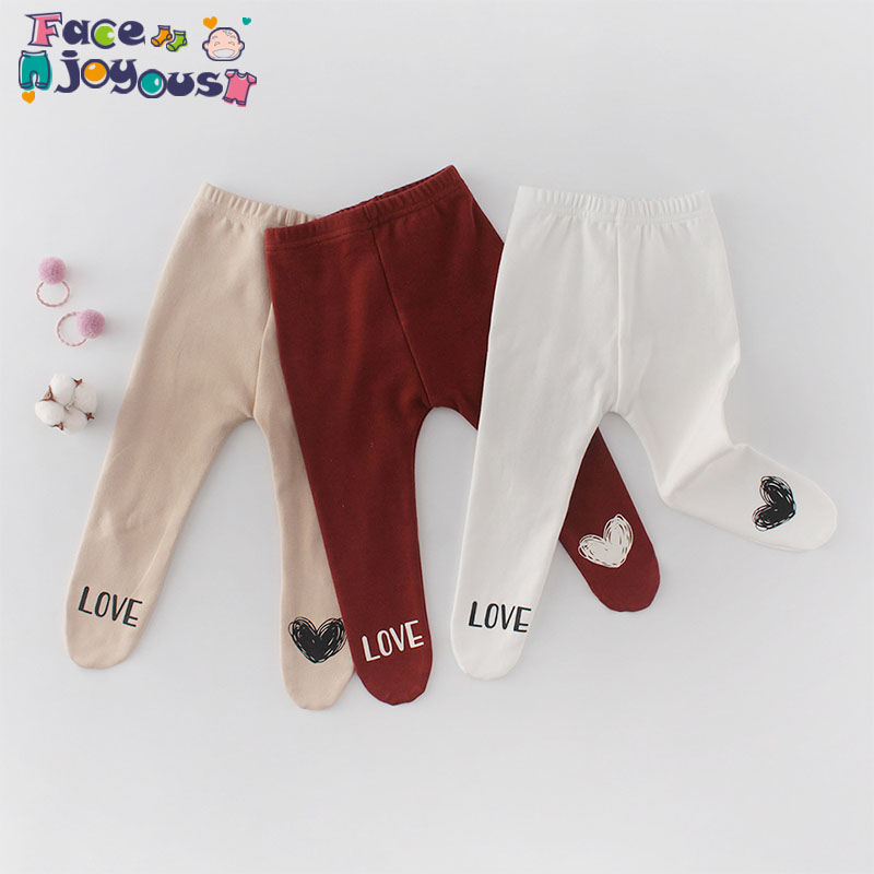2020 Spring New Baby Pantyhose Baby Love Heart Pantyhose Girls Tights Boy Cotton Baby Pp Pants 0-2T