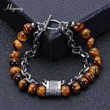 HIYONG Natural Tiger Eye Stone Mens Beaded Bracelet Lava Rock Black Onyx Stainless Steel Chain Bracelets Male Jewelry