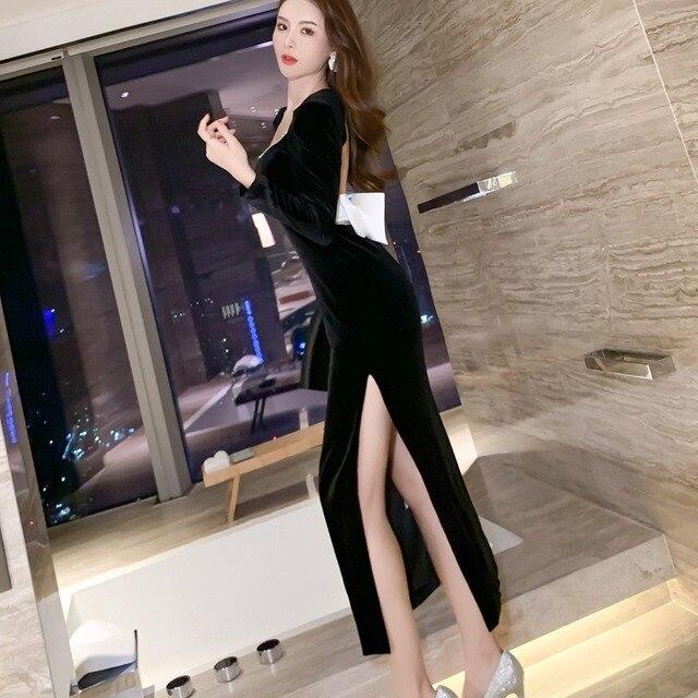 2021 Autumn Elegant Women Long Sleeve Slim Split Velvet Black Sexy Backless Evening Party Dress 4