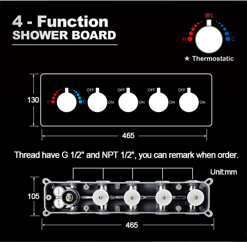 Hf17f518a92754179863153c4de36eba6E M Boenn Music Shower System Rain ShowerHeads LED Shower Set Bathroom Faucet Thermostatic Valve Matte Black/Chrome Bath Mixer Tap