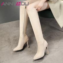 ANNYMOLI Autumn Knee High Boots Women Boots Zipper Thin Heels Tall Boots Slim Super High Heel Shoes Ladies Winter Big Size 34-43 стоимость
