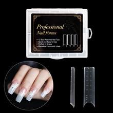 48/120pcs/kit wyczyść płaskie podwójne formy rozszerzenie paznokci System pokrywa DIY paznokcie akcesoria narzędzie do Manicure szybko budujący żel formy porady