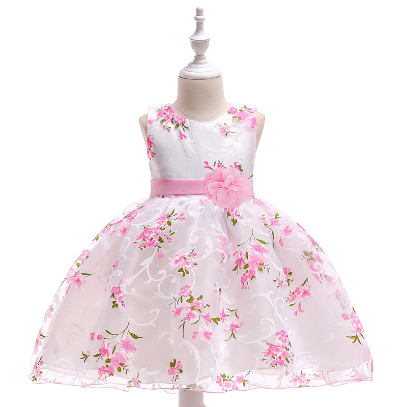 Retail Lovely Print Flower Little Baby First Communion Dress With Flower Boutiques Birthday Party Gown Dress For Baby L1851XZ