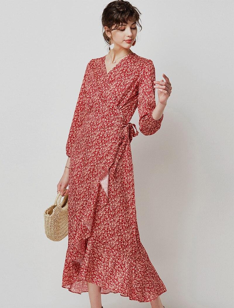 19 Autumn Casual V Neck Ruffled Long Dresses Women Elegant Lantern Sleeve Floral Print Maxi Dress Boho Split Wrap Tunic Dress 10