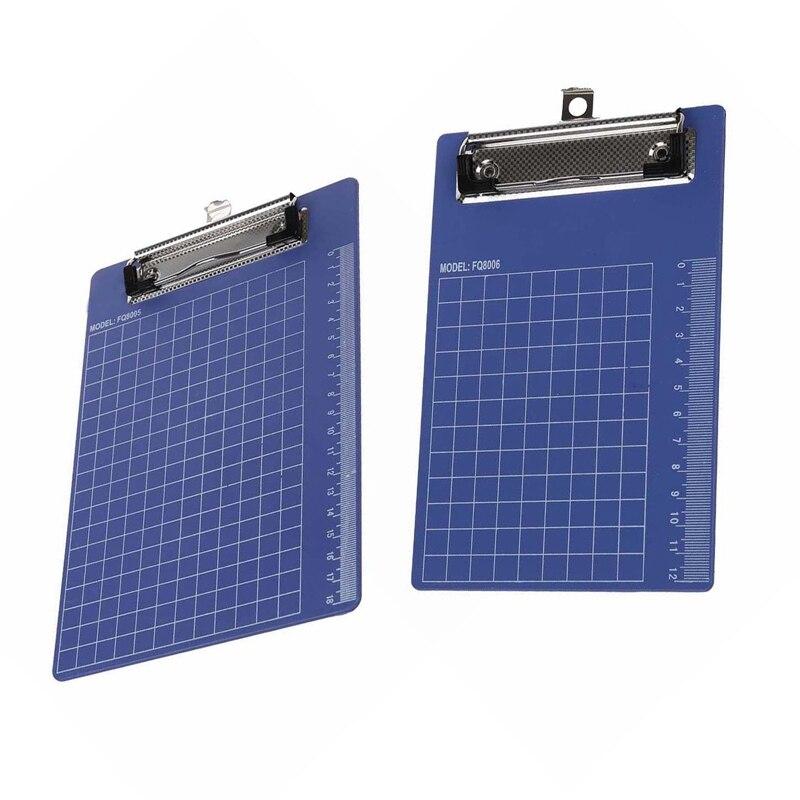 2Pcs Pad Clip Holder Folder Plastic Clipboard Blue Purple For Paper - A6 & A5