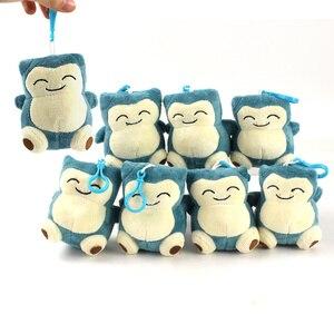 10 sztuk/partia 11cm Snorlax pluszowe zabawki breloki miękkie nadziewane wisiorki Anime dekoracji dzieci prezenty
