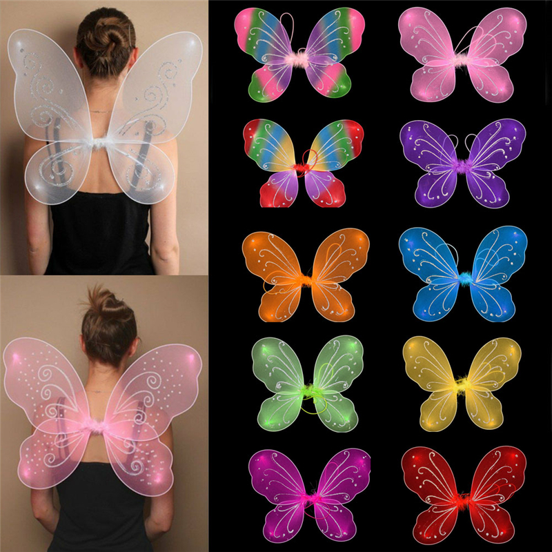 Fairy Wings Butterfly Dress Up Tinker Bell Halloween Costume Wand Gift 3pcs