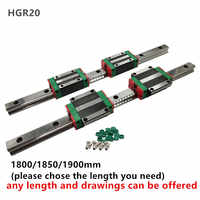 CNC Set HGR20 1800/1850/1900mm 2 PCS Linear Guideway Rail +4 PCS carriage bearing block HGH20CA or HGW20CC