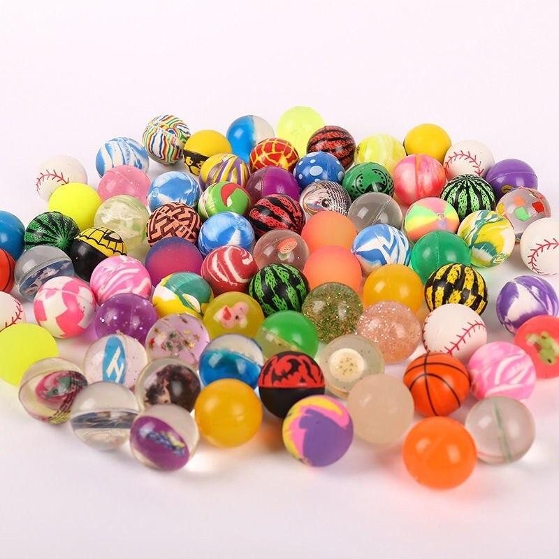 10/20/40 шт./лот забавные игрушечные шарики 25 мм Смешанные надувные шарики Твердые плавающие подпрыгивающие Детские эластичные резиновые мячи ...