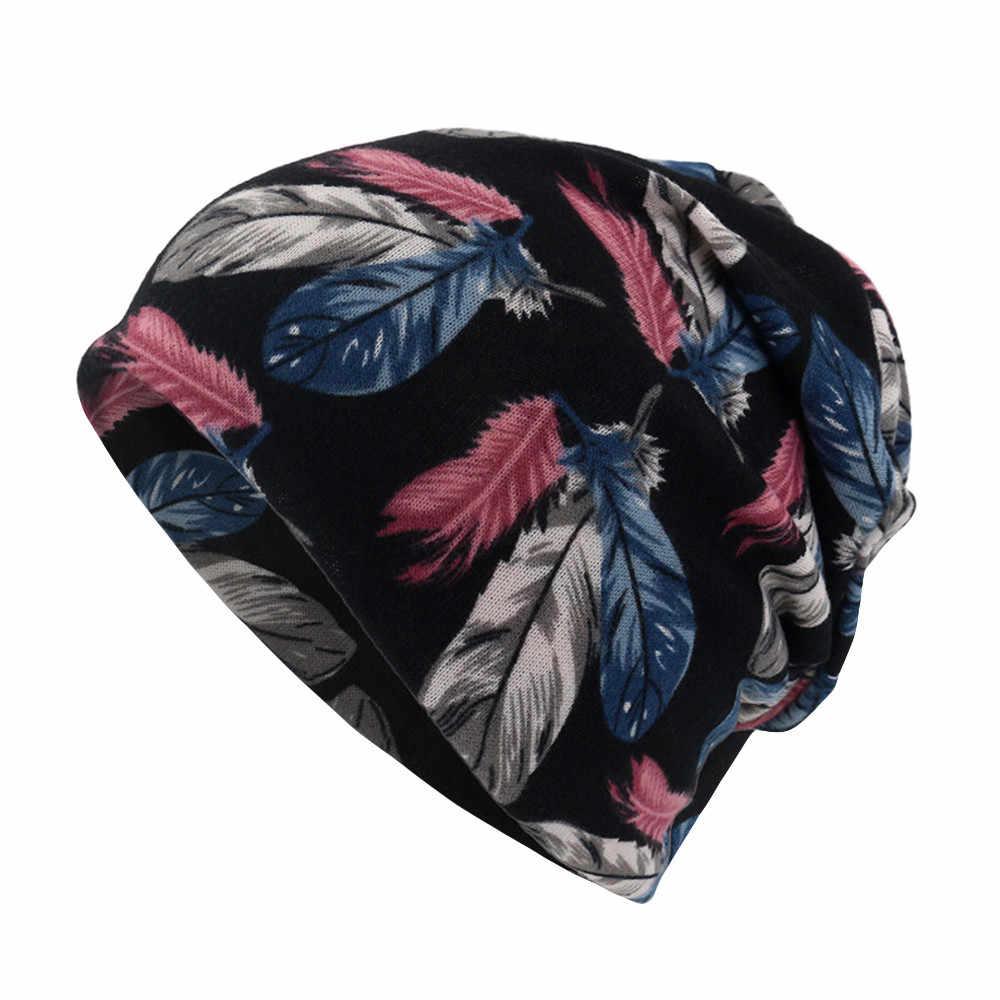 ดอกไม้พิมพ์หมวกหัวนุ่มสบายๆผู้หญิง Feather พิมพ์ผ้าพันคอหมวก Casaul กลางแจ้งรถ Windproof หมวกใหม่