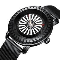 Men Watch Creative Automatic Turbine Rotation Bezel Dial Watch Casual Men's Quartz Wristwatches Luxury Steel Relogio Masculino Quartz Watches     -