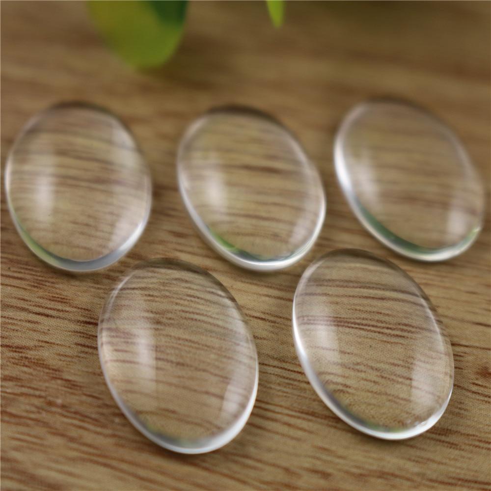 8pcs/lot 18x25mm Oval Flat Back Clear Glass Cabochon, High Quality, Lose Money Promotion!!!(Z3-06)