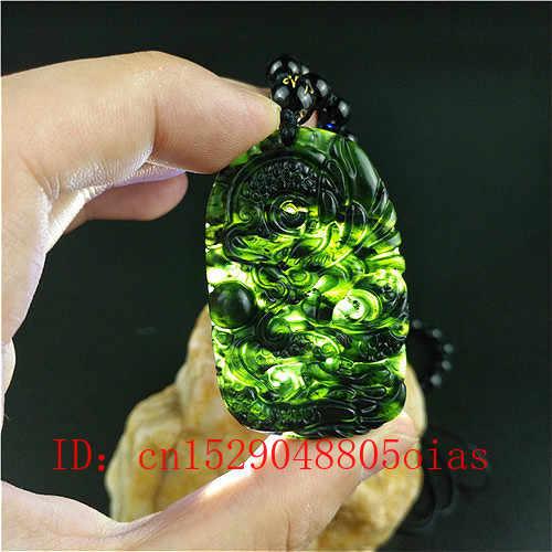 Certificado chino Natural negro JADE VERDE dragón colgante cuentas collar encanto joyería obsidiana amuleto grabado regalos para hombres