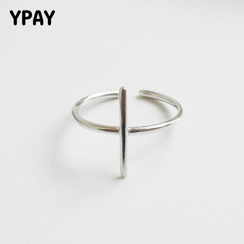 YPAY Simple Cross Shape Open Rings For Women Pure 925 Sterling Silver Finger Adjustable Ring Fine Accessories Jewelry YMR071