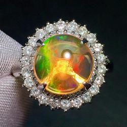 Кольцо с опалом, изысканные ювелирные изделия, Pt900, Платиновые ювелирные изделия, Мехико, натуральный огненный опал, 3.35ct, драгоценные камни, ...