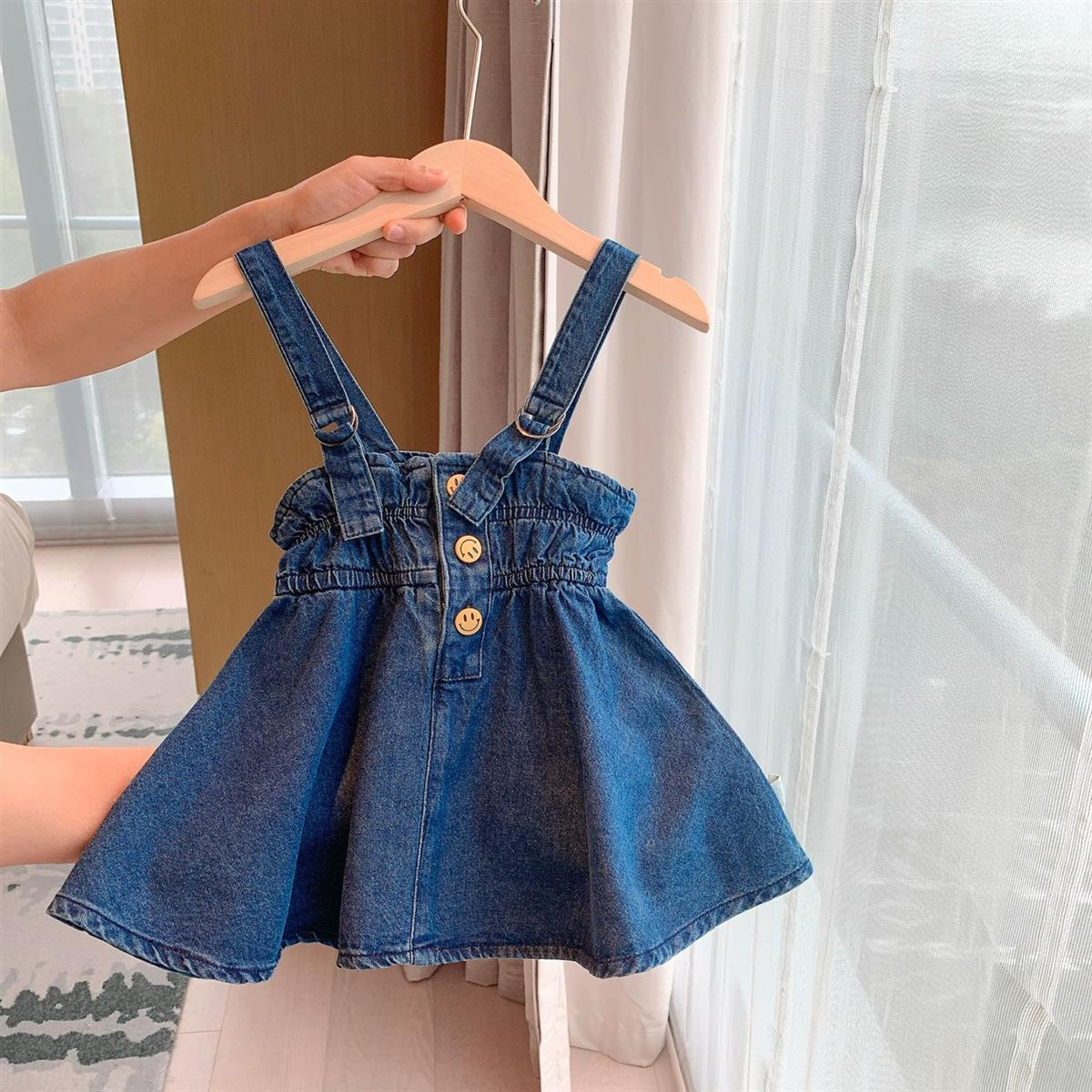 2020 Baby Girl Fashion Clothing Set Cute Bow Denim strap dress + T-shirt girls  Clothes Sets Children Party Birthday Wear 1