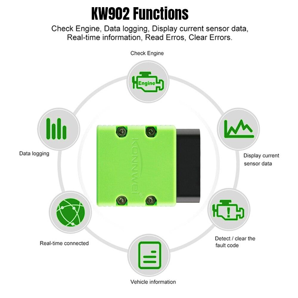 Image 3 - KONNWEI OBD2 Scanner KW902 ELM327 V1.5 Bluetooth Autoscanner PIC18f25k80 MINI ELM 327 OBDII KW902 Code Reader for Android Phone