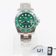 U1-Reloj de pulsera de acero inoxidable para hombre, con bisel de cerámica, esfera verde, cierre flotante automático de 40MM, cristal de zafiro
