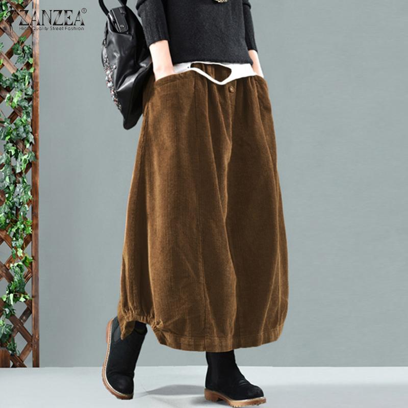 Elegante frauen Cord Röcke ZANZEA Frühling Casual Sommerkleid Elastische Taille Maxi Vestidos Weibliche Robe Faldas Saia Plus Größe 7