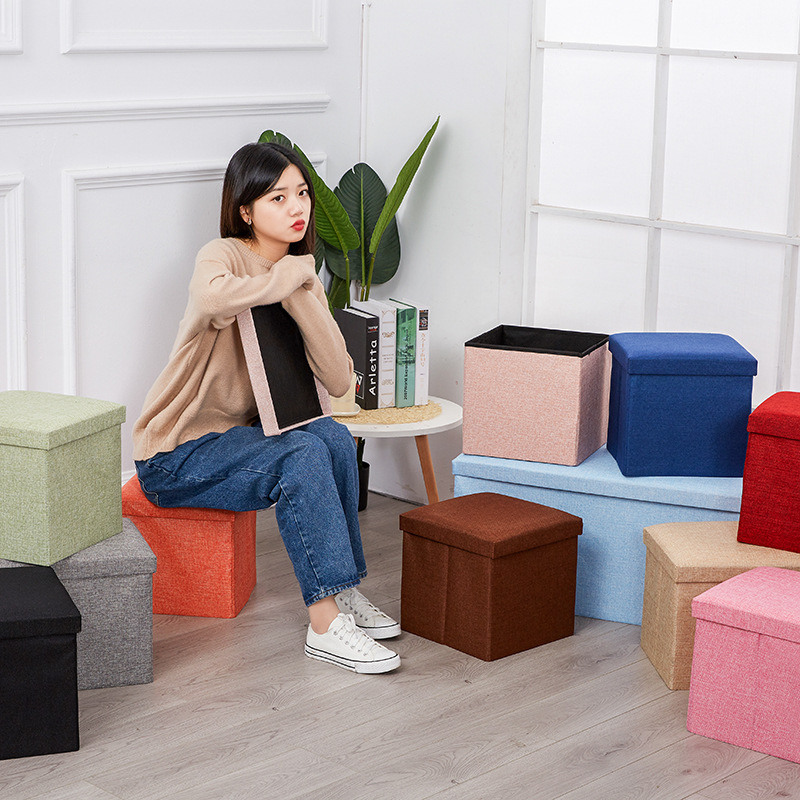 Simple Fabric Storage Chair Folding Footstool Box With Cap Storage Box Stool Manufacturers Wholesale Customizable