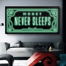 Money Never Sleeps Canvas Paintings Art Posters and Inspiring Phrases Prints Wall Art Pictures for Living Room Home Decoration